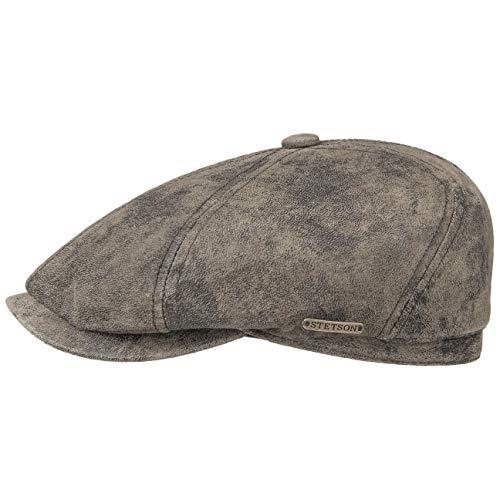 Stetson McCook Vintage Ledercap - Flatcap Herren/Damen - Schiebermütze aus Leder (Schwein, Velours) - Schlägermütze mit Baumwollfutter - Flat Cap Winter/Sommer braun XL (60-61 cm)