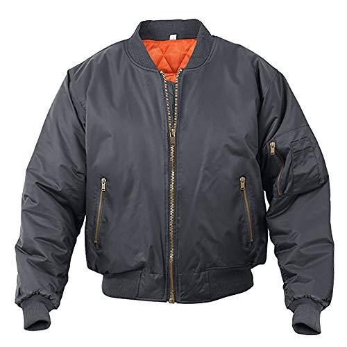 MAGCOMSEN heren piloten jack bomberjack blouson warm winterjack winddichte jas opstaande kraag college jas US leger jas rits jas