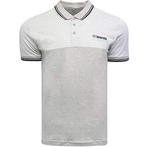 Lambretta Herren Poloshirt, Jacquard, Piqué, kurzärmelig, Grau - - XX-Large