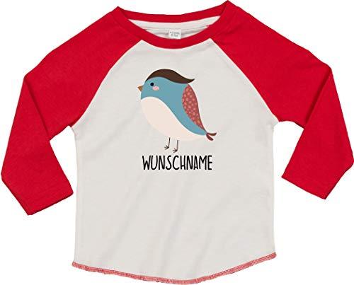 Kleckertegel baby kinderen T-shirt spreuken lange mouwen jongens meisjes raglan-mouwen met opdruk motief dieren vogel spat gewenste naam