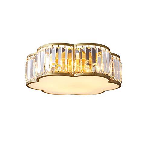 Cristal K9 Lámpara De Techo Dorado Lámpara De Araña 3 Luces Lámpara De Techo Montaje Empotrado Plafón Para Para Cocina Dormitorio Salón-Cobre 35x13cm(14x5inch)