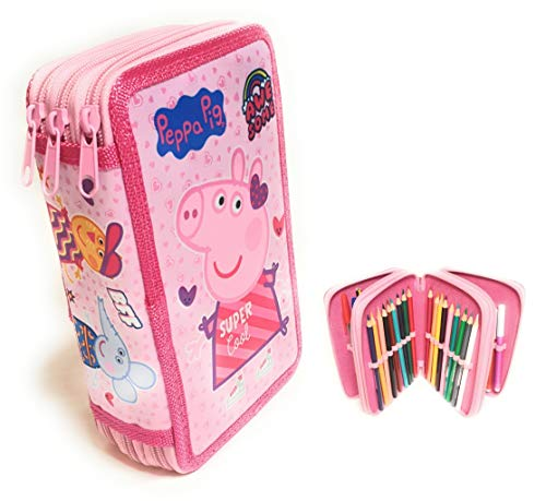 Estuches Peppa Pig de Lapìces Completo, Estuche Peppa Pig, Triple con Tres Cremlleras, Estuche Escolar con Peppa Pig, Gran Capacidad para la Escuela, Articulos Incluidos