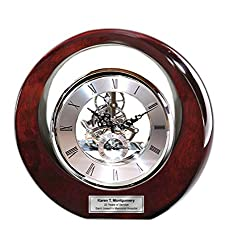 Executive Engraved Silver Gear Da Vinci Marquee Dark Cherry Personalized Desk Clock Employee Recognition Service Award Wedding Anniversary Desk Clock Retirement Coworker Boss Colleague