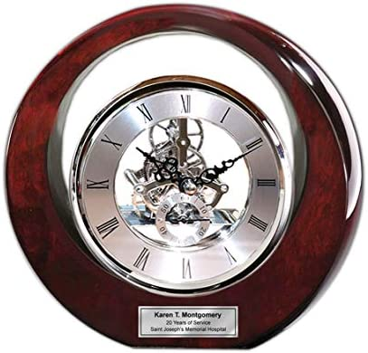 Executive Engraved Silver Gear Da Vinci Marquee Dark Cherry Personalized Desk Clock Employee product image