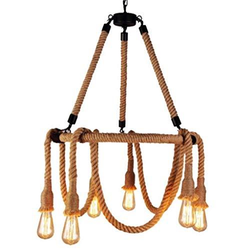 Araña de la cuerda de cáñamo de 6 Lámpara de metal Negro antiguo techo de la lámpara de la vendimia cuerda de cáñamo industrial lámpara de araña, for café de la barra Tabla casa decoración que cuelga