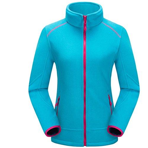 emansmoer Femme Thermique Veste Polaire Outdoor Body Warmer Manteau Full Zip Manches Longues Confort Doux Veste (Small, Bleu)