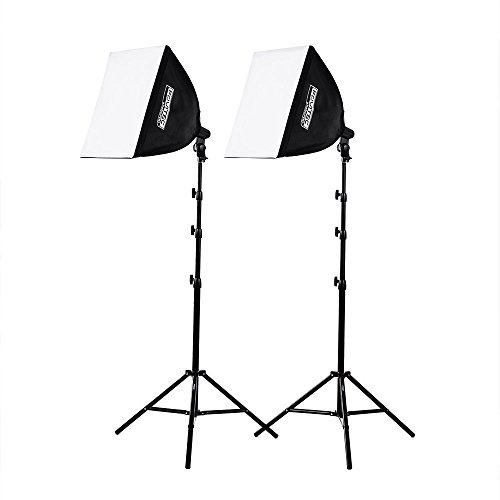 Fovitec - Kit di illuminazione Softbox per studio fotografico, 1050 Watt, 2 luci quadrate per auto pop-up, 50 cm (spina europea)