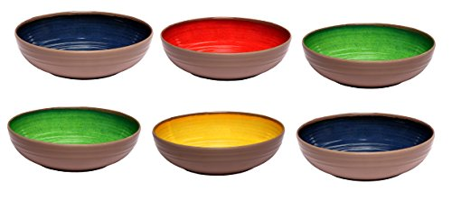 Melange 6-Piece 100% Melamine Pasta Bowl Set (Clay Collection ) | Shatter-Proof and Chip-Resistant Melamine Pasta Bowls | Color: Multicolor