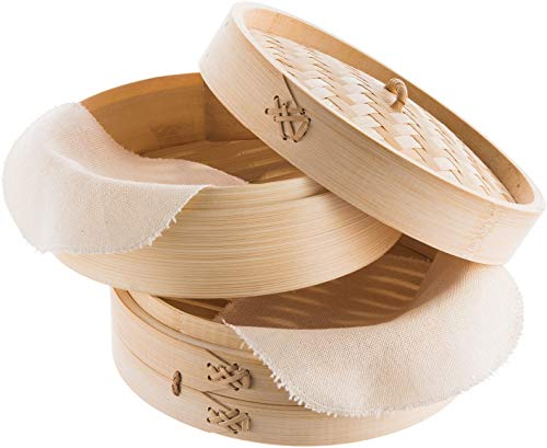 REISHUNGER Bamboo Steamer Handmade Basket, Traditional 2-Tier Design - 8 Inch - For Dumplings, Rice, Dim Sum, Vegetables, Fish and Meat - Incl. 2 Cotton Cloths