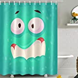 Badezimmer Duschvorhang Polyester Strapazierfähig Und Waschbar Cyan-Blau Expression Duschvorhänge Halloween Polyester Wasserdichtes Badezimmer Vorhang Stoff Für Bad Wohnkultur
