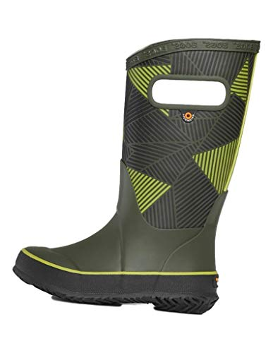 BOGS unisex child Rainboot Waterproof Rain Boot, Big Geo - Dark Green, 5 Big Kid US