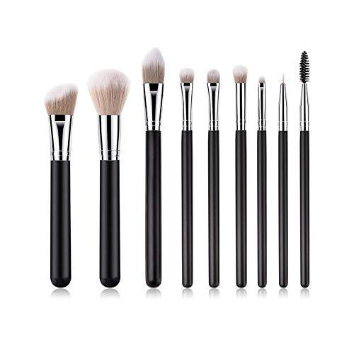 OPSBNWEUYS 9pcs pinceaux de Maquillage mis en mélange et de Polissage et de contournage et de Poudre et de Cache-cernes et de Pinceau pour Les Yeux et Les lèvres
