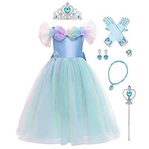 FYMNSI Aschenputtel Kleid Kinder Mädchen Prinzessin Cinderella Kostüm Schmetterling Tüll Maxikleid Halloween Cosplay Karneval Fasching Weihnachten Märchen Prinzessinnenkleid mit Zubehör 3-4 Jahre