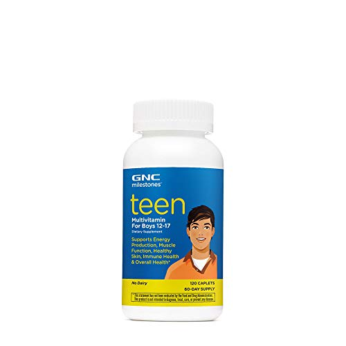 GNC milestones Teen Multivitamin for Boys 12-17, Supports Energy, Muscle, Skin Immunity, 60 Servings