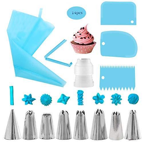 Boquillas para Manga Pastelera,Liwein Boquillas Reposteria Acero Inoxidable Reutilizable Manga Pastelera Silicona Bolsas de Pastelería Acopladores Kit de Pasteles Decoración-14pcs (Azul)