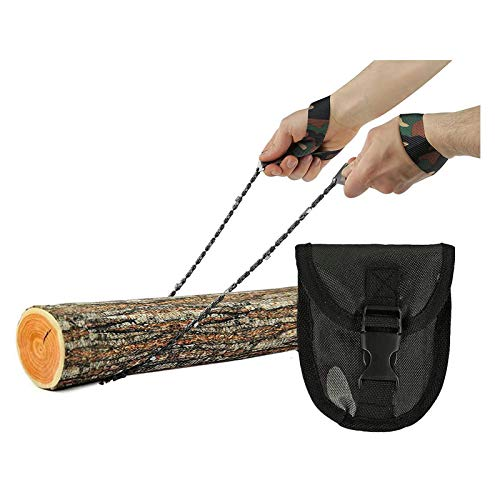Pocket Chainsaw Mini Stainless Steel Wire Saw with Paracord Handle 24 inch Folding Chain Hand Saw 23 blades Rescue Saw Camping Tool Pocket Gear for Camping