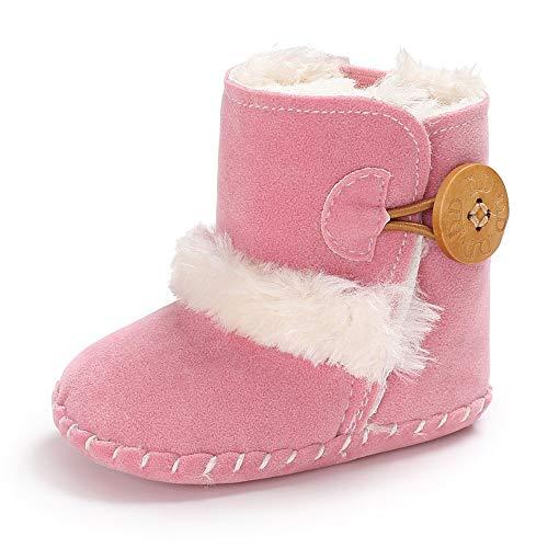 Greceen Baby Premium Soft Sole Bow Anti-Slip Mid Calf Warm Winter Infant Prewalker Toddler Snow Boots (Mb 0-6 Months Pink)