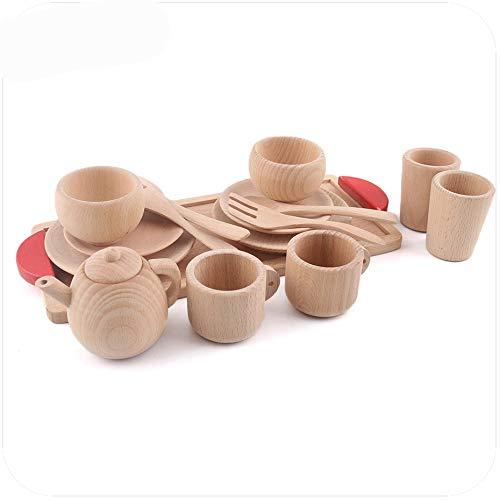 PPuujia Juguete de cocina electrodomésticos Vajilla pretender jugar juego de té actividades educativas de madera juguetes gourmet inspirados juguetes de madera para niños (color : juego de té)