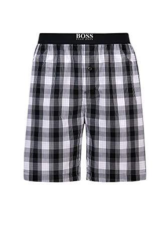 BOSS Herren Urban Shorts Karierte Pyjama-Shorts aus Baumwoll-Popeline mit geknöpftem Eingriff