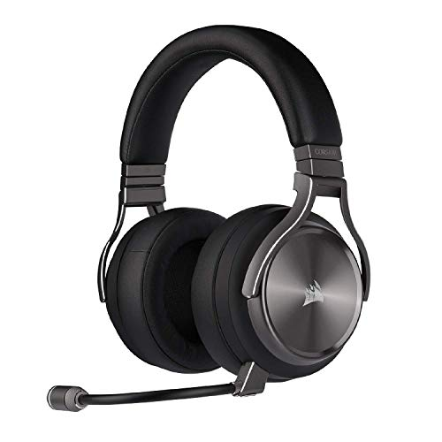 Corsair CA-9011180-NA Virtuoso RGB Wireless Se Gaming Headset - High-Fidelity 7.1 Surround Sound W/ Broadcast Quality Microphone - Memory Foam Earcups - 20 Hour Battery Life – Gunmetal (Renewed)