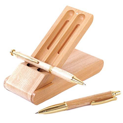 ボールペン セット 木製 シャーペン 立つ ペンケース 3点セット 高級 天然木 プレゼント ギフトボックス付 (ナチュラル)