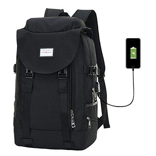 Knuffel Anti-Diefstal Laptop Rugzak Computer Tas met USB Opladen Port School Rugzak free size Zwart