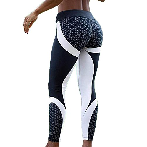 FITTOO Hight Waisted Honeycomb Printed Leggings Sexy Gym Fitness Yoga Pants for Women Honeycomb XL