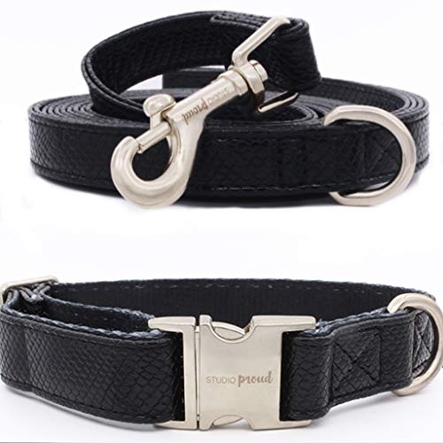 Studio Proud - Halsband und Leine - schwarzer Schlangenprint - Silberne Akzente - kann mit Einer passenden Leine kombiniert Werden