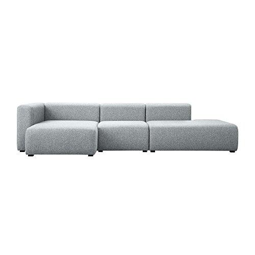 HAY Mags 3-Sitzer Sofa Links 321x127,5x67cm, hellgrau Stoff Hallingdal 130 Füße Kiefernholz schwarz gebeizt mit Filzgleitern