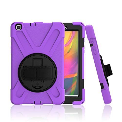 Case for Samsung Galaxy Tab A T290, Amuse-MIUMIU Silicone Anti-fall Rotating Bracket Function Protective Case with Portable Wrist Strap for Samsung Galaxy Tab A T290 8 Inch, purple, 8 zoll