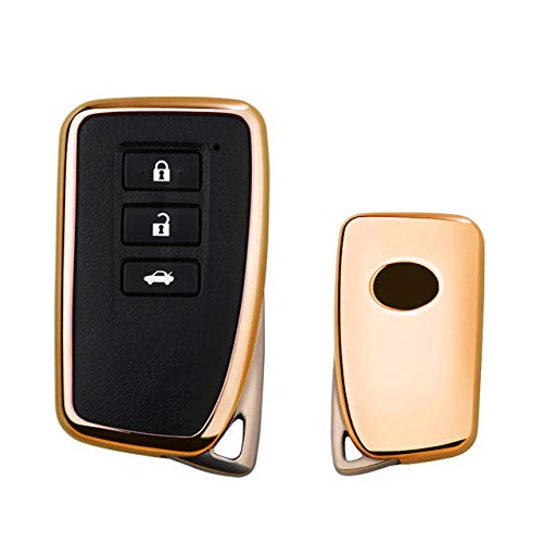 ZFLL Sleutelhoes 2019 nieuw zacht TPU Toetsenbord Cover Case voor Lexus nx gs rx is es gx lx rc 200 250 350 ls 450 h 300 h Auto styling sleutel bescherming Keychain Ein Gold