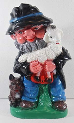 OMÜ Otto Müller Gartenzwerg Figur Zwerg Schäfer mit Lämmchen und Hund H 31 cm stehend Gartenzwerg aus Kunststoff