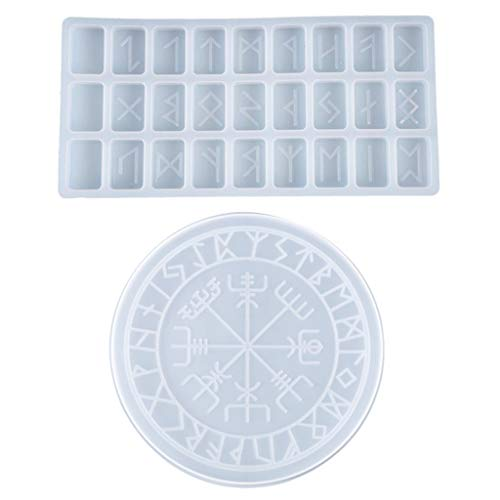 Juego de 2 moldes de resina epoxi con símbolo de runas para...