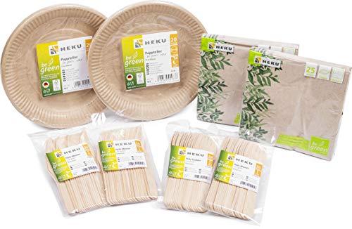 HEKU 30011-01 Set de 170 pièces jetables bio avec assiettes, couteaux, fourchettes et serviettes Vert