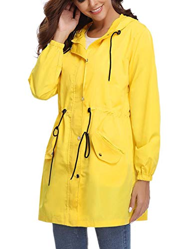 Chubasquero amarillo largo con capucha impermeable para mujer