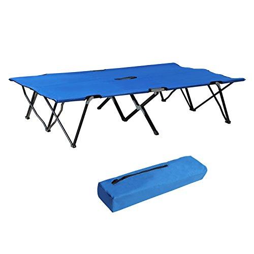 Outsunny Lit de Camp Pliable Double 193 x 125 x 40 cm avec Sac de Transport Polyester Oxford métal Bleu et Noir