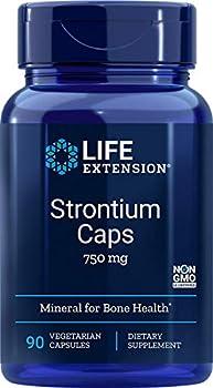 Life Extension Strontium Caps 750 mg Bone Health Support Supplement – Non-GMO Gluten-Free – 90 Vegetarian Capsules