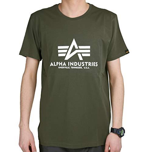 ALPHA INDUSTRIES Basic T-Shirt Camiseta, Verde Vintage, L para Hombre
