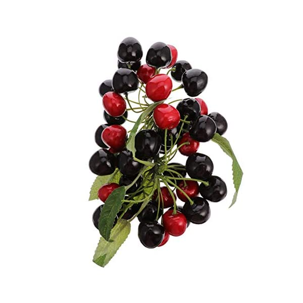 YARNOW Artificial Fruit Cherry Ornament Small Fake Cherries Fruit Model Photography Prop Home Kichen Christmas Ornament (Dark Red)