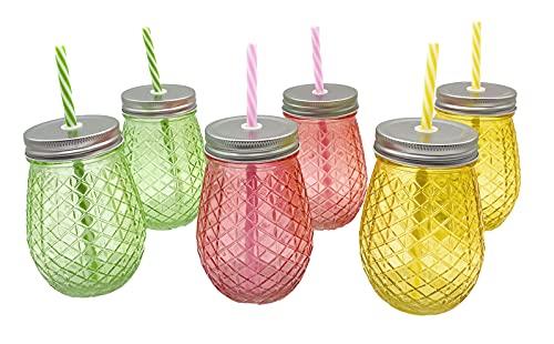 Lote 6 Jarras 500ml colores con tapa y pajita – Jarritas cristal...