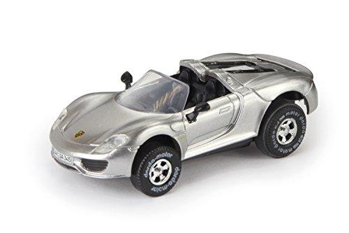 Darda 50345 - Darda Auto Porsche 918 Spyder Cabriolet silber, ca. 7,5 cm, Rennauto mit auswechselbaren Rückzugsmotor, Fahrzeug mit Aufziehmotor für Kinder ab 5 Jahre, Aufziehauto für Darda Rennbahnen