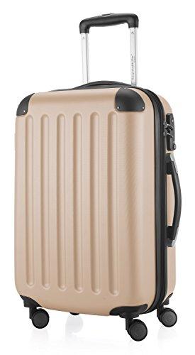 HAUPTSTADTKOFFER - Spree - Handgepäck Hartschalen-Koffer Trolley Rollkoffer Reisekoffer Erweiterbar, TSA, 4 Rollen, 55 cm, 42 Liter, Champagner