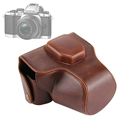 ZZjingli Accessories Huile Peau PU Caméra en Cuir Full Body Bag avec Sangle for Olympus EM10 III (Noir) (café) (Brown) (Couleur : Coffee)