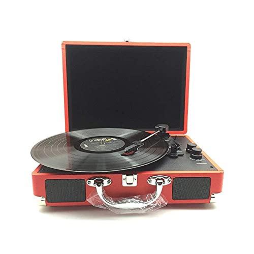 SXLCKJ Tocadiscos, Tocadiscos Tocadiscos Bluetooth, Retro Vintage Inalámbrico Vintage de 3 velocidades, con Spea estéreo Incorporado
