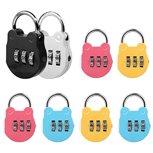 Jubaopen 8PCS Combination Lock Code Lock Luggage Travel Security Padlock Aluminum Alloy Gym Lock for Travel Luggage Tool Box Locker Fitness Backpack(4.9×3.2×1.2cm, 5Colors)