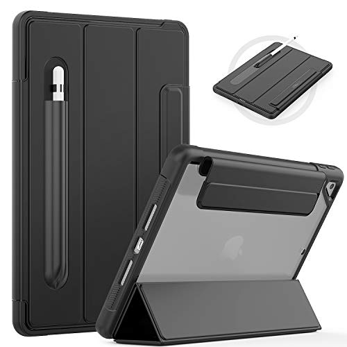 """SEYMAC iPad 8th/7th Generation Cover (iPad 10.2"""" Case 2020/2019),Slim Shockproof Cover with Clear Back, Screen Protector, Pencil Holder, Auto Wake/Sleep, Tri-fold Front Cover for iPad 10.2 Inch,Black"""