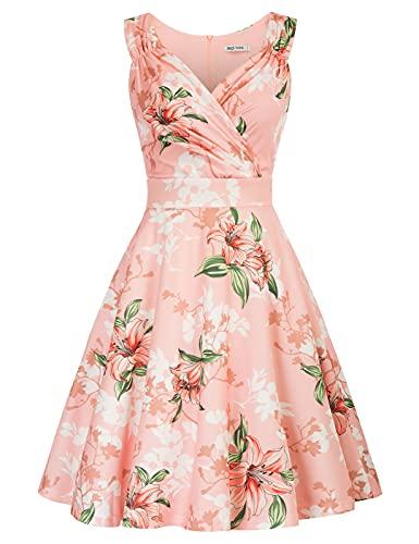 cocktailkleid v Ausschnitt Elegante Kleider Sommer Petticoat Kleid 50er Jahre Swing Kleid CL2811-11 XL