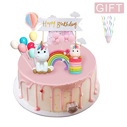 Coolba Cake Topper Unicorno, Decorazioni Torta Unicorno Finta Set Arcobaleno,Palloncino,Buon Compleanno,Nuvola,Decorazioni Torta Unicorno per Bambini Ragazza Baby Shower Festa di Compleanno