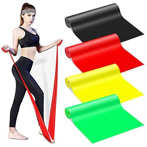 SANGGI Bande Elastiche Fitness Resistenza, Set di 4 Fasce Elastici Fitness, Bande Elastiche Resistenza per Fisioterapia, Yoga, Pilates, Riabilitazione, Uomo/Donna Fascia Fitness, 2 m / 1,5 m