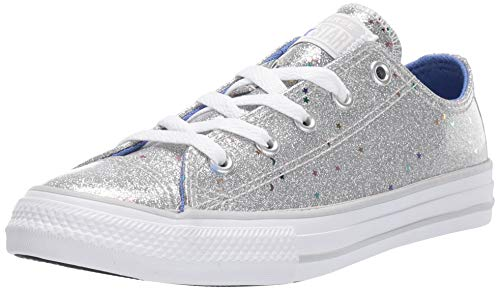 Converse Girls' Chuck Taylor All Star Galaxy Glimmer Sneaker, Silver/Ozone Blue/White, 6 M US Big Kid